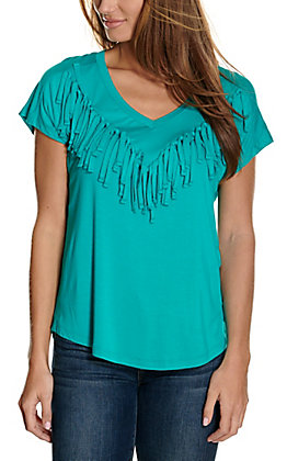 Wrangler Retro Women's Turquoise with Fringe V-Neck Short Sleeve Knit Fashion Top