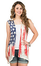 Wrangler Women's Red, White, and Blue Crochet Flat Vest