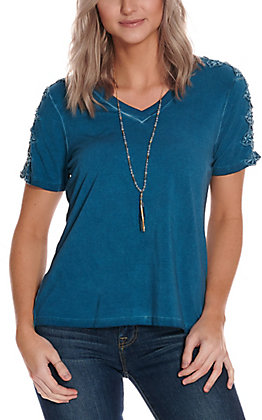 Wrangler Retro Women's Blue with Lace Short Sleeve Casual Knit Top