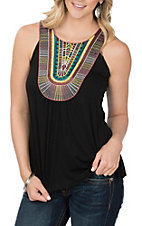 Wrangler Women's Black w/ Multicolor Embroidery on Front Tank Fashion Shirt