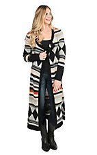Wrangler Women's Multi Colored Aztec Print Long Sleeve Sweater Duster