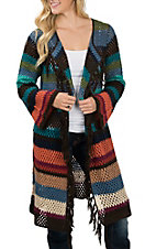Wrangler Women's Multi-Color Stripe Long Sleeve Sweater Knit Cardigan