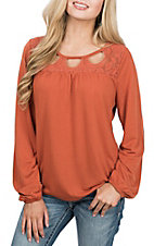 Wrangler Women's Rust Cutout Neckline Fashion Shirt