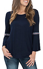 Wrangler Women's Navy W/ Multi-Color Embroidery L/S Flutter Casual Knit Shirt