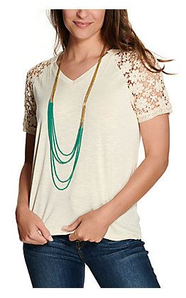 Wrangler Retro Women's Cream with Lace Short Sleeves Casual Knit Tee