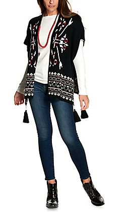 Wrangler Retro Women's Black with White and Red Aztec Design Short Sleeve Sweater Knit Cardigan