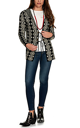 Wrangler Retro Women's Black and Ivory Aztec Design with Conchos and Ties Hooded Knit Cardigan