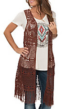 Wrangler Women's Rust Sleeveless Crochet with Fringe Vest
