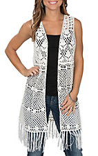 Wrangler Women's White Crochet with Fringe Sleeveless Vest