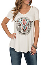 Wrangler Women's White Steerhead Graphic V-Neck Cutout Casual Knit Shirt