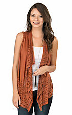 Wrangler Women's Rust with Laser Cut Out Design Sleeveless Fashion Vest