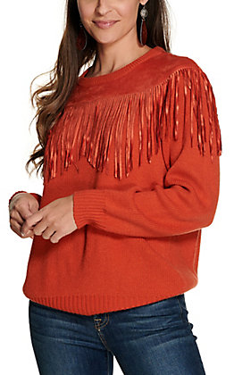 Wrangler Retro Women's Rust Orange with Faux Suede Fringe Sweater