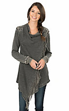 Wrangler Women's Charcoal Grey Cross Front with Fringe Long Sleeve Cardigan