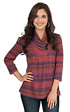Wrangler Women's Red and Purple Stripe with 3 Button Neckline 3/4 Sleeve Fashion Top