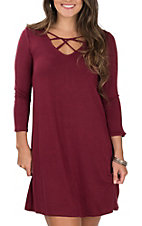 Wrangler Women's Burgundy Criss Cross Neck 3/4 Sleeves Knit Dress