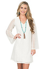 Wrangler Women's Cream Lace with Long Bell Sleeve Dress