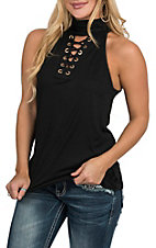 Wrangler Women's Black Sleeveless Lace Up High Neck Fashion Shirt