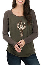Wrangler Women's Olive & Brown Cactus Sequins Casual Knit Shirt