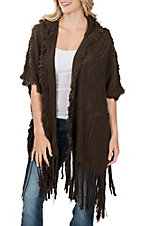 Wrangler Women's Brown Sweater Knit w/ Fringe and Hood Cardigan