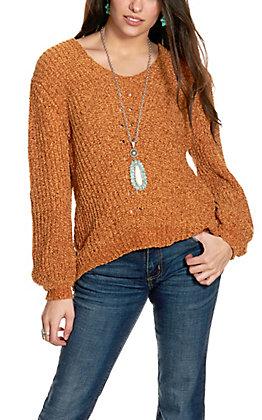 Wrangler Retro Women's Caramel Chenille Long Sleeve Sweater