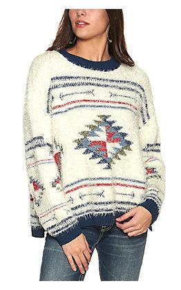 Wrangler Retro Women's Ivory and Blue Aztec Eyelash Long Sleeve Sweater
