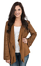 Wrangler Women's Nutmeg Knit with Faux Suede Laser Cut Long Bell Sleeve Cardigan