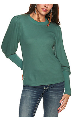 Wrangler Retro Women's Sage Green Waffle Knit Exaggerated Cuff Long Balloon Sleeves Knit Top