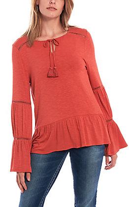 Wrangler Women's Rust Long Sleeve Peasant Top