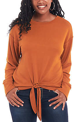 Wrangler Women's Rust Tie Front Long Sleeve Fashion Top