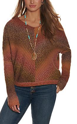 Wrangler Retro Women's Rust Ombre V-Neck Sweater