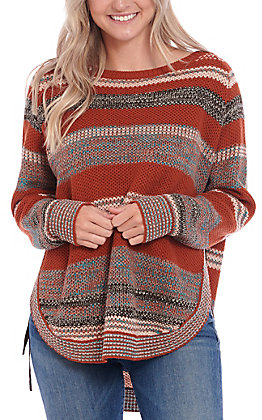 Wrangler Women's Orange Striped Concho Long Sleeve Sweater
