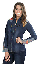 Wrangler with Rodeo Quincy Women's Dark Wash Denim with Floral Screen Print Long Sleeve Western Snap Shirt