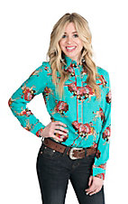 Wrangler with Rodeo Quincy Women's Turquoise with Indian Headress Print Long Sleeve Retro Snap Shirt