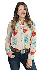 Wrangler with Rodeo Quincy Women's Tan with Rose and Horseshoe Print Long Sleeve Retro Snap Shirt