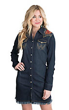 Wrangler with Rodeo Quincy Women's Dark Wash Denim with Floral Embroidery Long Sleeve Western Snap Dress