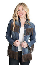 Wrangler with Rodeo Quincy Women's Denim with Fringe and Embroidery Long Sleeve Jacket