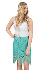 Wrangler Women's Teal Crochet with Fringe Hem Skirt