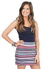 Wrangler Women's Blue & Pink Ponte Knit Mini Skirt