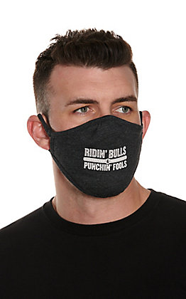 "Rodeo Time Charcoal ""Ridin' Bulls & Punchin' Fools"" Unisex Cloth Face Mask"