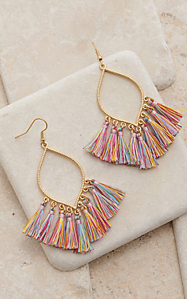 Amber's Allie Gold With Multi Colored Tassel Dangle Earrings