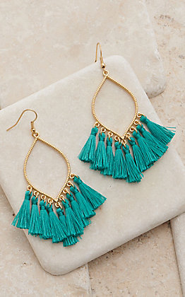 Amber's Allie Gold With Teal Tassel Dangle Earrings