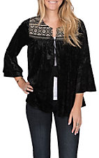 April Sky Women's Black Velvet with Cream Embroidery 3/4 Bell Sleeve Short Cardigan