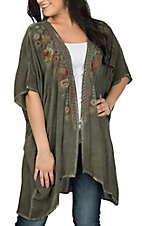 April Sky Women's Olive w/ Embroidery Kimono