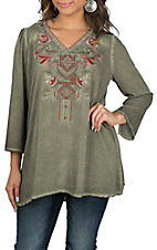 April Sky Olive w/ Embroidery Tunic Fashion Shirt
