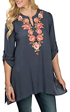 April Sky Women's Midnight Blue w/ Floral Embroidery Tunic Fashion Shirt