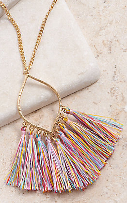 Amber's Allie Gold With Multi Colored Tassel Necklace