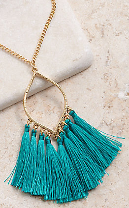 Amber's Allie Gold With Teal Tassel Necklace