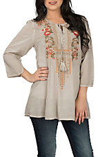 April Sky Women's Taupe w/ Floral Embroidery Tunic Fashion Shirt