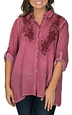 April Sky Women's Burgundy w/ Rose Embroidery Western Fashion Shirt