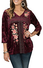 April Sky Women's Burgundy Velvet w/ Floral Embroidery Peasant Fashion Shirt